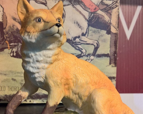 Vintage Fox Figurine Lefton Porcelain Poised