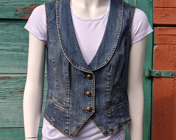 Vintage Vest Tailored Denim with Brass Buttons