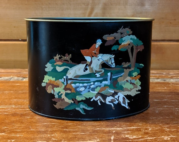 Vintage Caddy Hand-Painted Fox Hunter and Hound