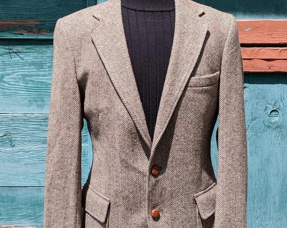 Vintage Mens Jacket Wool Herringbone Tweed Blazer