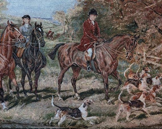 Vintage Tapestry Victorian Hunt Scene Jacquard Weave