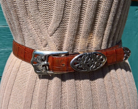 Vintage Belt Leather & Silver Bradford Croc-Embossed