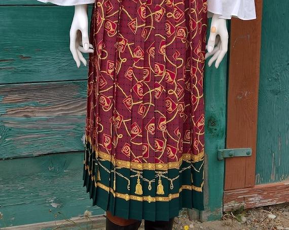 Vintage Skirt Long Plaid Hunt Horns & Tassels Autumn