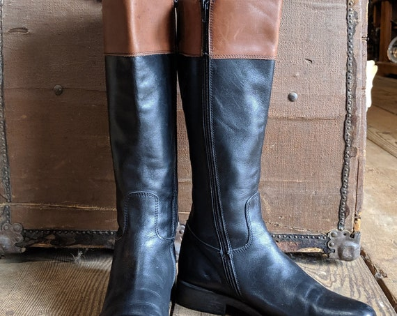 Vintage Pollini Two-Toned Leather Riding Boots/37EU