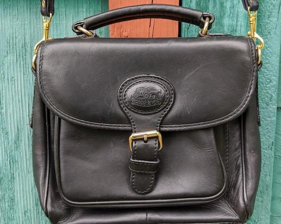 Vintage Crossbody Purse Cob & Co Black Leather – 1980s