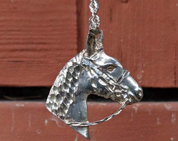 Vintage Necklace Horse Head Italian Sterling Silver Hand-Cast