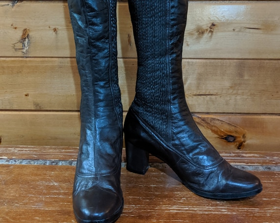 Vintage Tall Boots Stretch Leather Brown Lana-Finland Size 8.5M