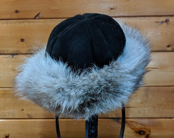 Vintage Hat Shearling Wool with Real Fur Trim-1960s