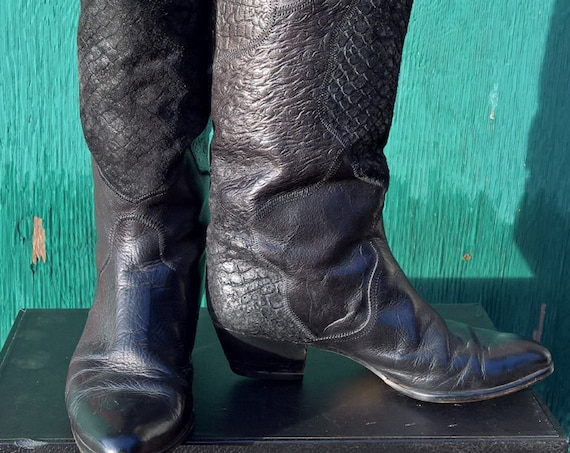 Vintage Tall Boots Italian Leather with Textured Design
