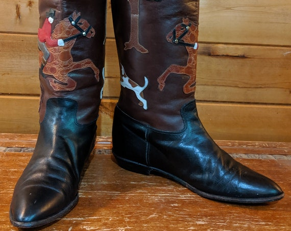 Vintage Tall Boots Field Hunters in Leather Beverly Feldman 1980s