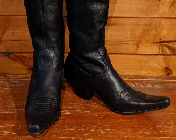 Vintage Boots Nine West Rockabilly Leather Riding
