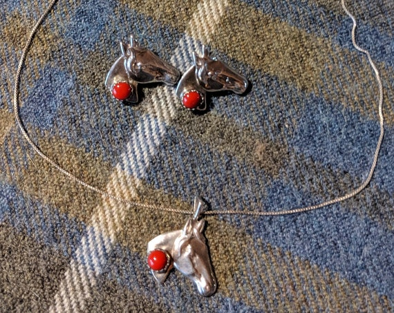 Vintage Necklace & Earrings Set Silver Horse Heads with Red Coral