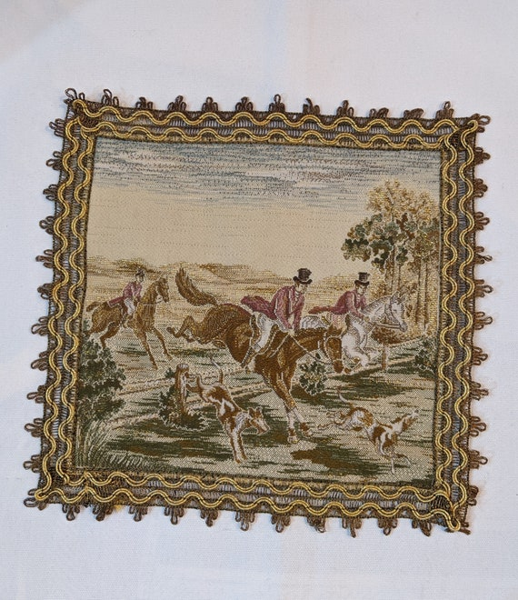 Vintage Embroidered Square Victorian Fox Hunters -1970s