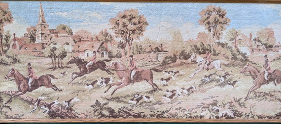 Vintage Framed Tapestry Woven Carpet Field Hunters and Hounds – 1960s