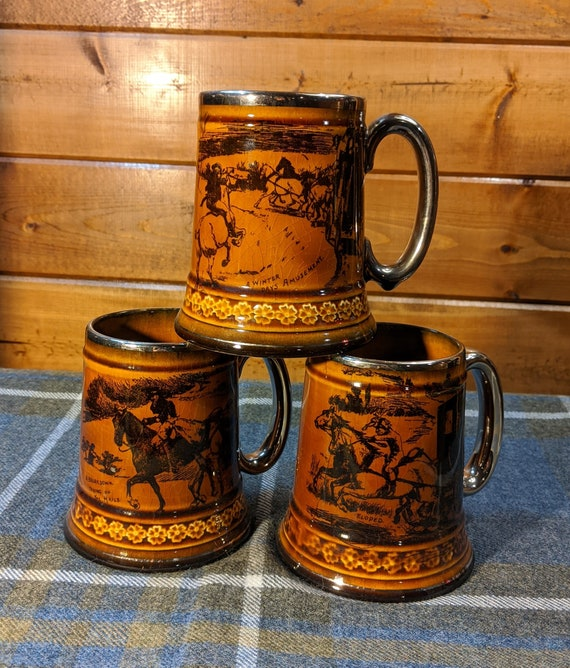 Vintage Mug Trio Equestrian Ridgeway Coaching Days - 1900s