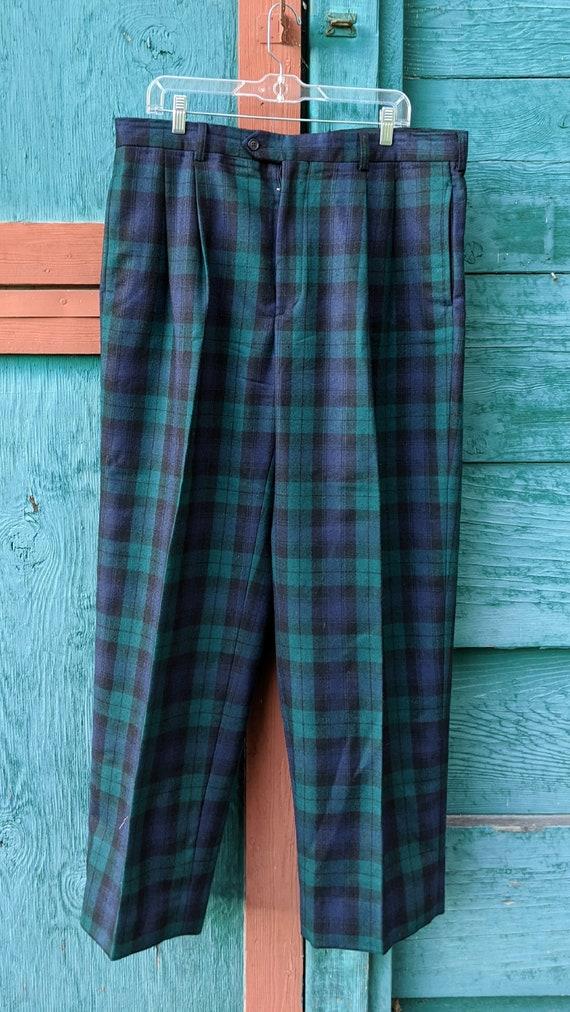 Vintage Men's Trousers J Pederman Wool Tartan Plai