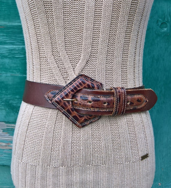 Vintage Belt Leather Wide with Raised Croc Inlay