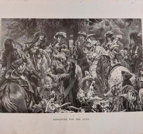 "Antique Print ""Departure for the Hunt"" Book Engraving"