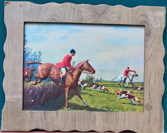 Vintage Picture Cardboard Fox Hunt Equestrian 3-D