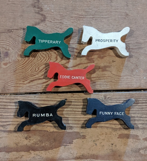 Vintage Wood Race Horse Game Pieces  - 1950s