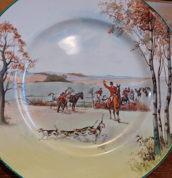 Vintage Royal Doulton Fox Hunting Round Rack Plate