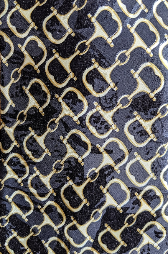 Vintage Tie Men's Black Silk with Gold Bits Bellini Uomo