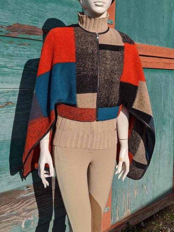 Vintage Cape Coat Colorful Blanket Wool – 1970s