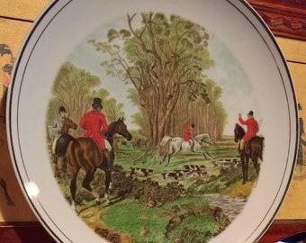 Vintage Plate Fox hunters Herring Italy Porcelain 1960s