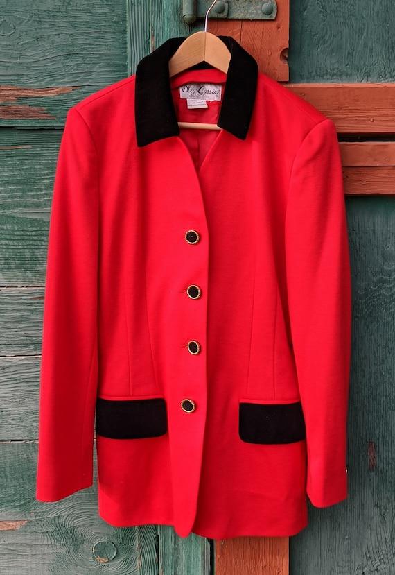 Vintage Blazer Hunt Club Red with Black Velvet Ol… - image 6