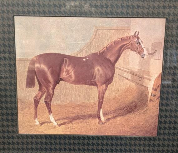 """Vintage Framed Print """"Sorrel Stallion in Stable"""" 1843"""" –John Frederick Herring Sr"""