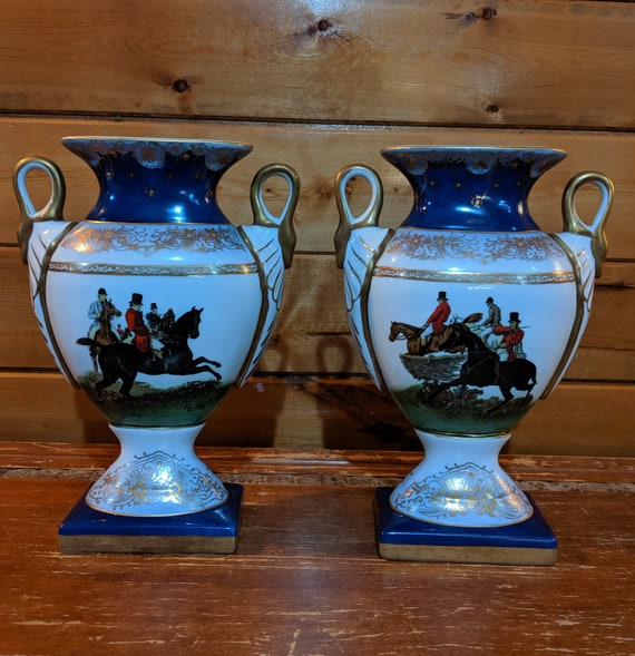 Vintage Porcelain Vase Set Victorian Fox Hunters