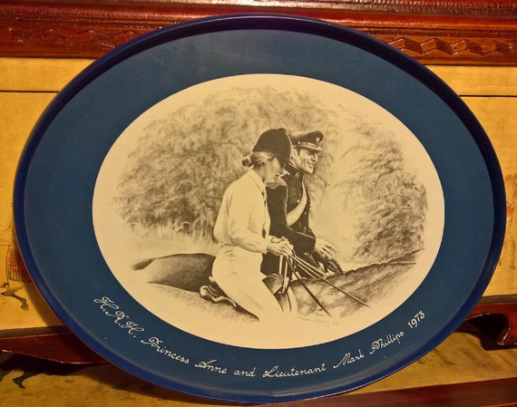 Vintage HRH Princess Anne and Lieutenant Mark Phillips Plate