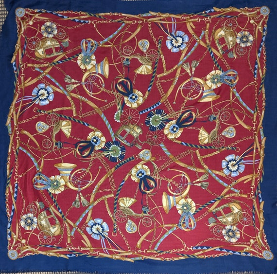 Vintage Scarf Bold Hunting Horns and Carriages