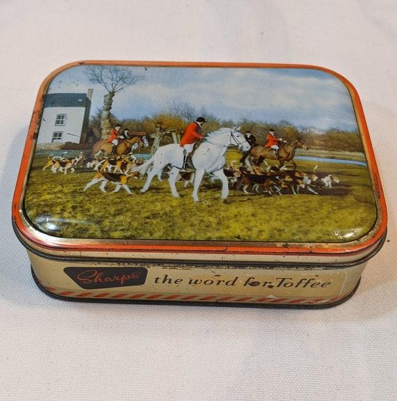 Vintage Tin Toffee Fox Hunting Equestrian Sharps 1910