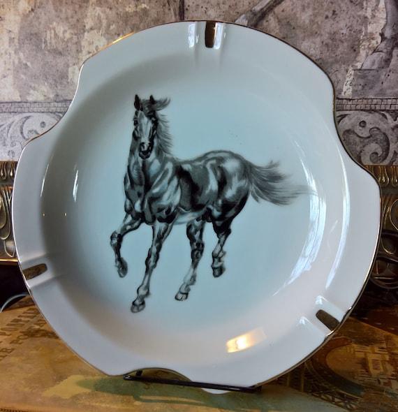 Vintage Horse Dish Ashtray Black Dancing Norleans Porcelain