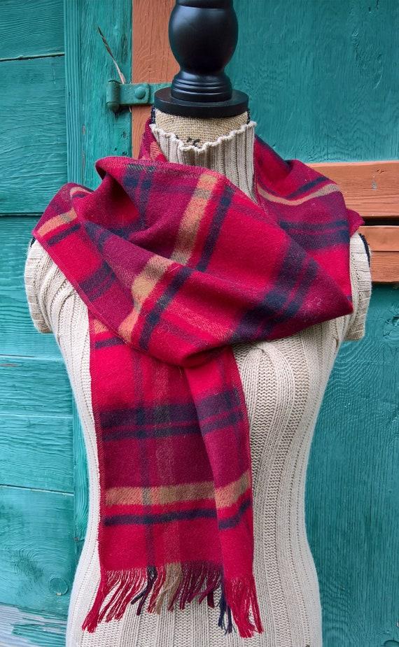 Vintage Scarf Plaid Blanket Wool Winter