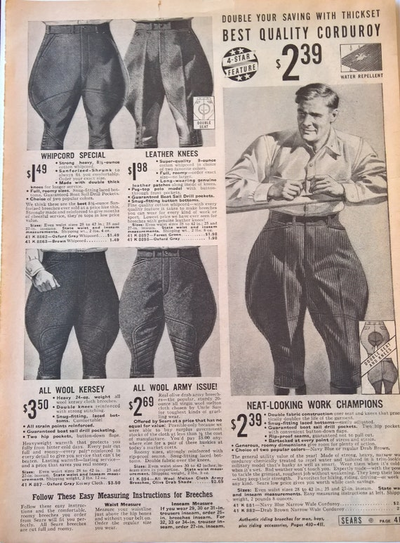 Vintage Advertisement 1938 Riding Breeches Mens Sears