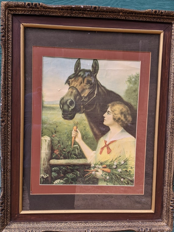Vintage Framed Print Victorian Lady and Bay Horse – 1940s