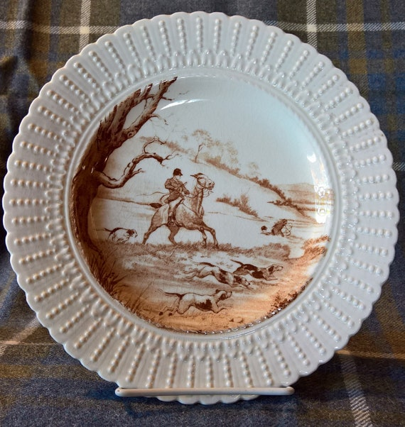 "Vintage Fox Hunt Plate ""The Water Jump"" Royal Cauldon Brown"