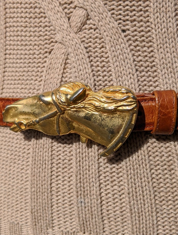 Vintage Belt Golden Horsehead Buckle with chestnut leather – 1970s