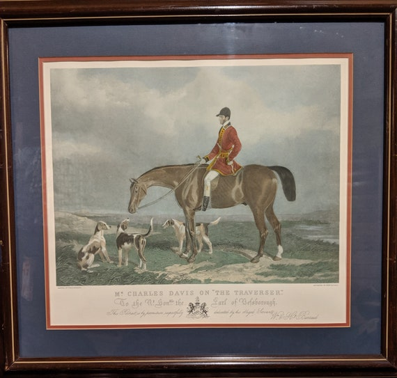 "Vintage Print Equestrian Engraved Original ""Mr. Charles Davis on the Traverser"" by W&H Barraud"