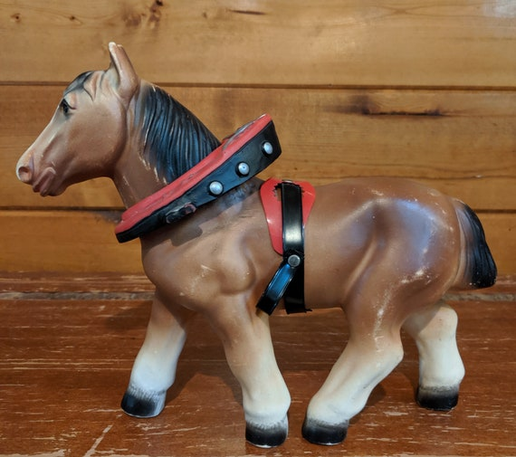 Vintage Plough Horse with Collar Plastic Toy 1950s