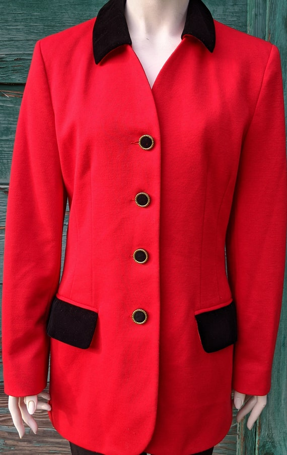 Vintage Blazer Hunt Club Red with Black Velvet Ol… - image 3