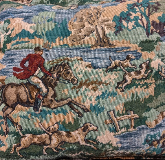 Vintage Pillow Hunt Scene Tapestry 1970s