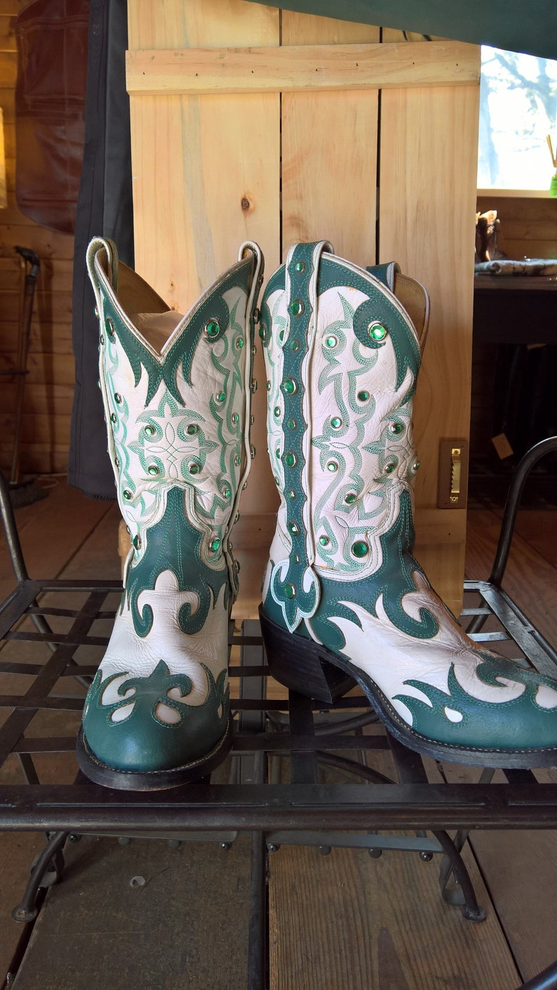 e382341e761 Vintage Cowboy Boots Custom Western Verde Teal and White Bejeweled