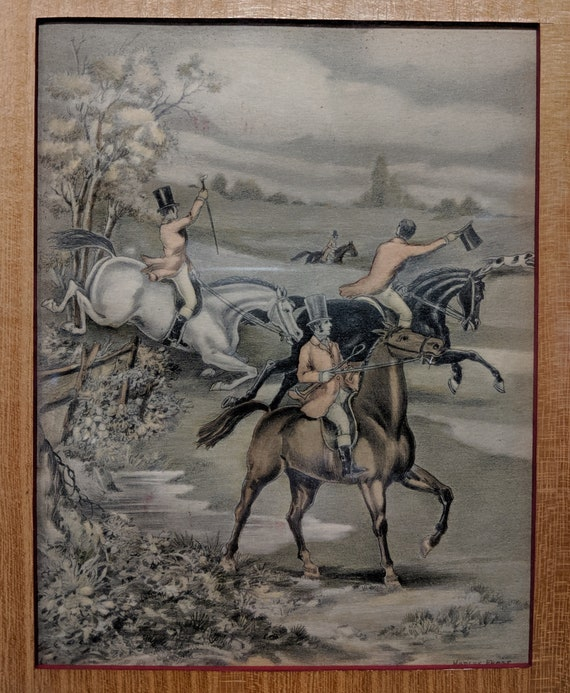 Antique Etching Hand Colored Fox Hunters Hadley Frost