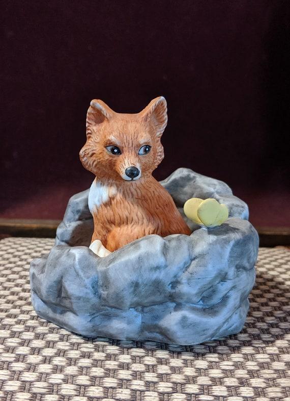 Vintage Fox figurine Woodland Surprises- Porcelain 1984