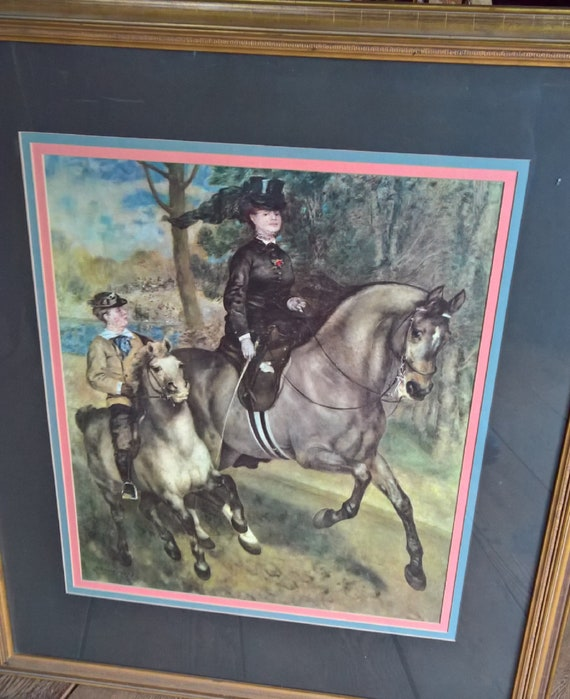 "Vintage Print ""A morning ride in Boise de Boulogne Park"" Framed collotype by Pierre-Auguste Renoir"
