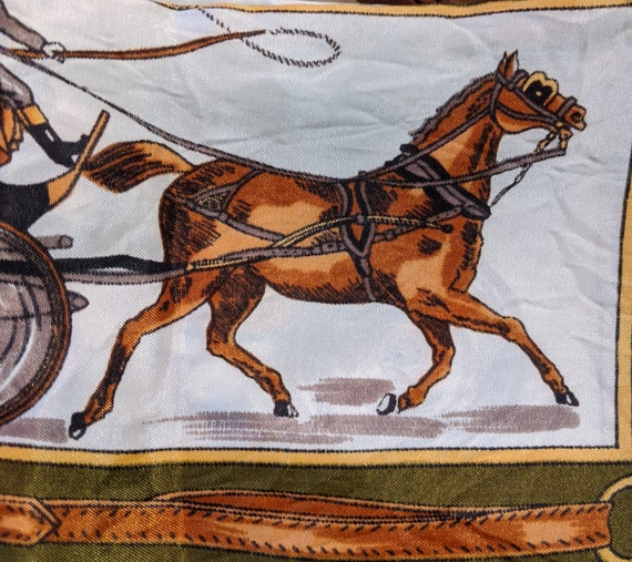 Vintage Scarf Olive Carriage Horses – 1980s