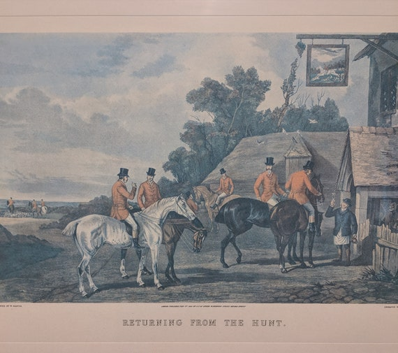 Vintage Returning From the Hunt Lithograph by W Shayer